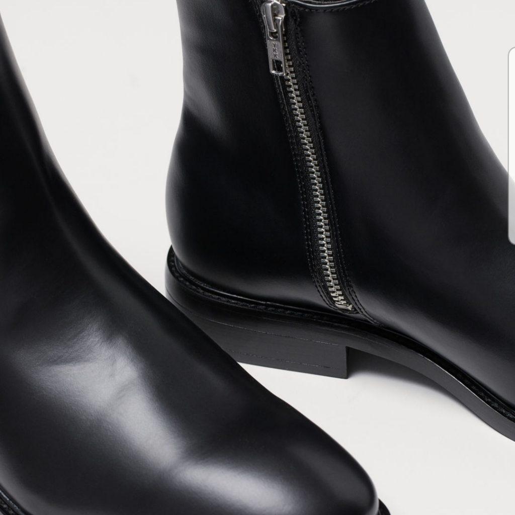bottines noires en cuir avec fermeture eclair
