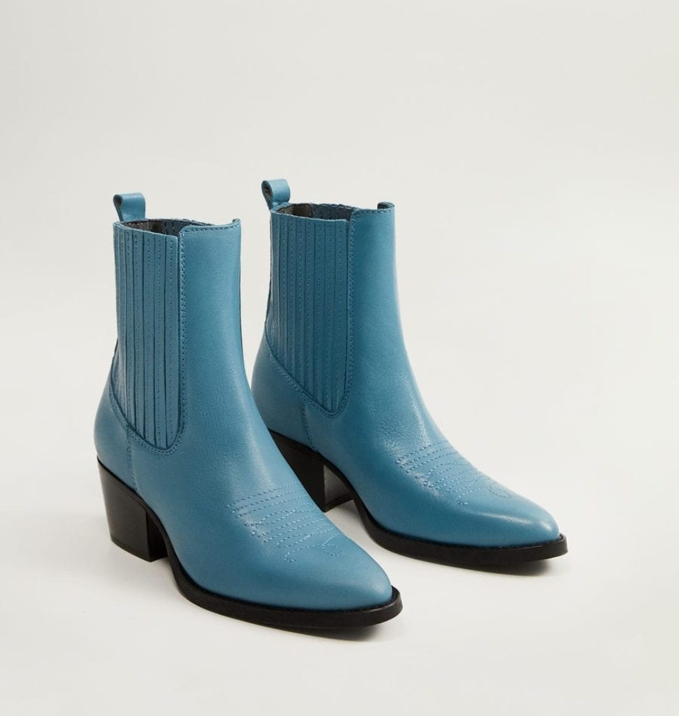 bottines en cuir bleu