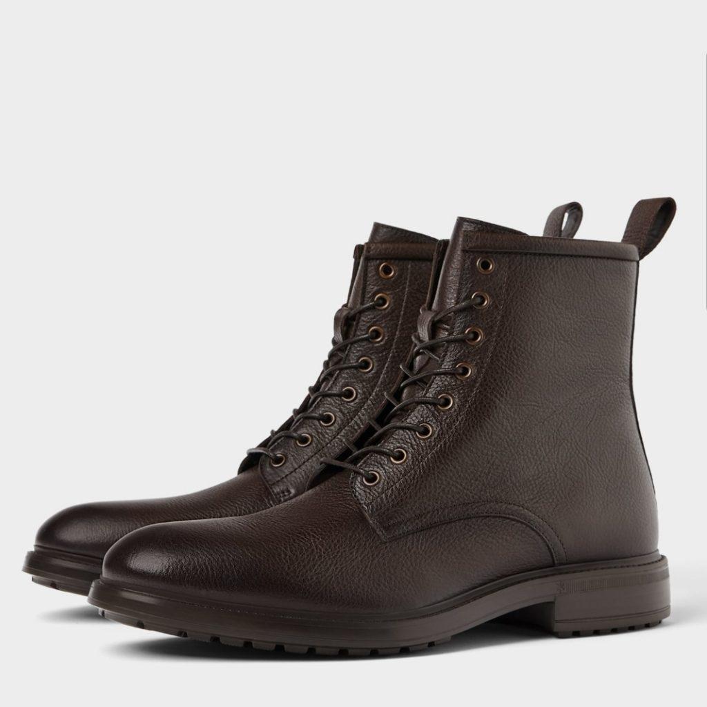 bottines montantes à lacet en cuir marron pour homme