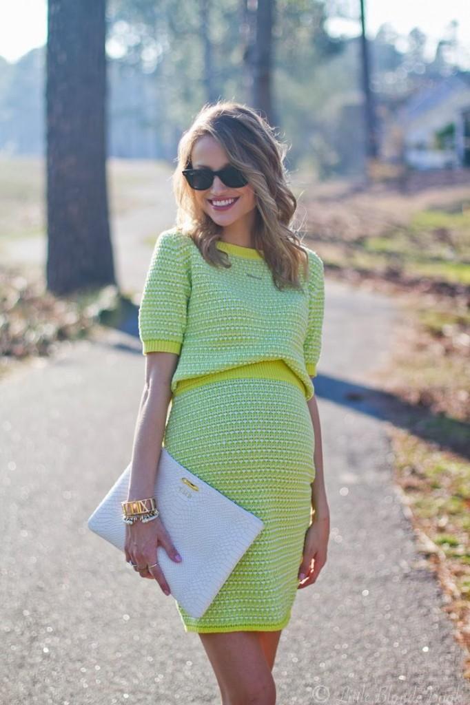 taylor morgan enceinte en robe jaune